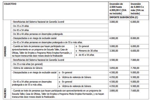 importe colectivo subvencion emprededor MURCIA